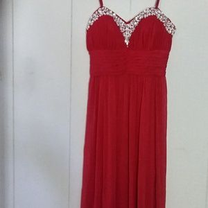 Strapless red dress maxi gown